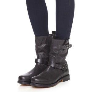 Rag & Bone Black Leather Moto Ankle Boots